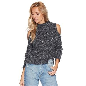 Bishop + Young Cold Shoulder Sweater Gray Grey S